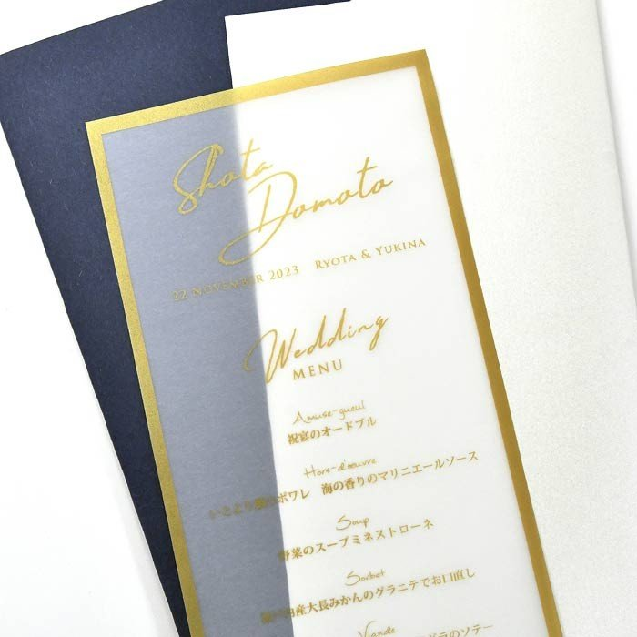 結婚式 席札 / 席札メニュー表 「トレープゴールド」(1名様分)/ ウェディング 披露宴 farbe 07
