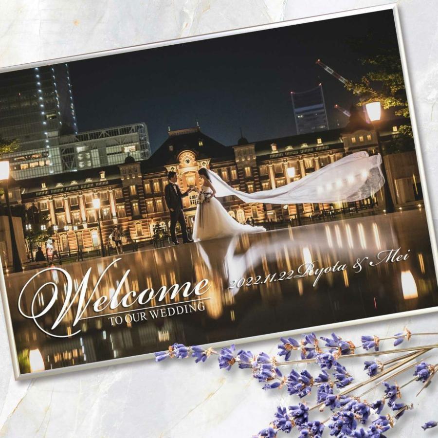 結婚式 ウェルカムボード / フォトウェルカムボード 1ショットシルバー(A2サイズ) / 二次会 パーティー|farbe