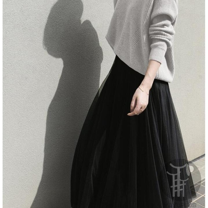 スカート  チュールスカート スカート マキシ ロングスカート フレアスカート ウエストゴム マキシスカート ミモレ丈 代引不可|fashionrizumu|06