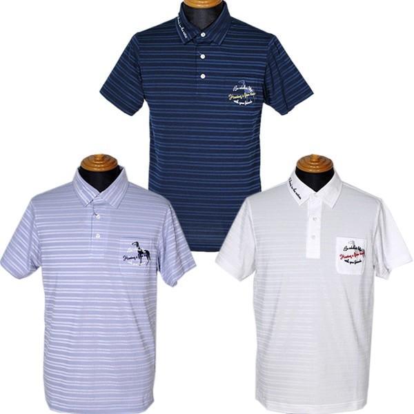 アダバット adabat メンズ 半袖同色ボーダー柄胸ポケット付ポロシャツ 3L有 ゴルフウェア 通常販売価格:14300円