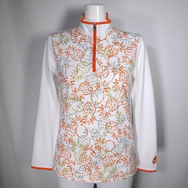 アダバット adabat レディース 長袖パイナップル柄ハイネックハーフジップシャツ ゴルフウェア 通常販売価格:20900円