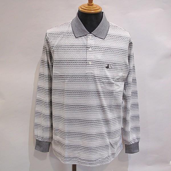 ブラック&ホワイト 黒&白い メンズ 長袖ボーダーアーガイル柄ポロシャツ (アウトレット30%OFF) ゴルフウェア 通常販売価格:25300円