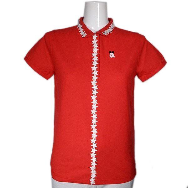 アルチビオ archivio レディース 半袖星モチーフレーステープ付きポロシャツ (アウトレット30%OFF) ゴルフウェア 通常販売価格:26400円