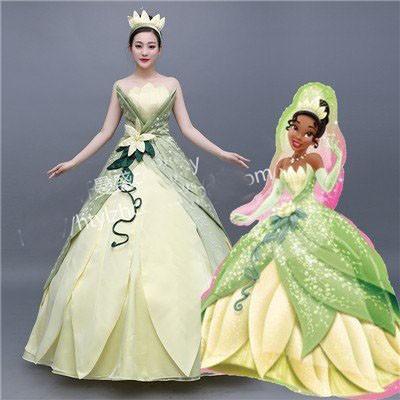 プリンセスと魔法のキス ティアナドレス お姫様 コスプレ衣装 ハロウィン コス レディース  お姫様ドレス ロングドレス