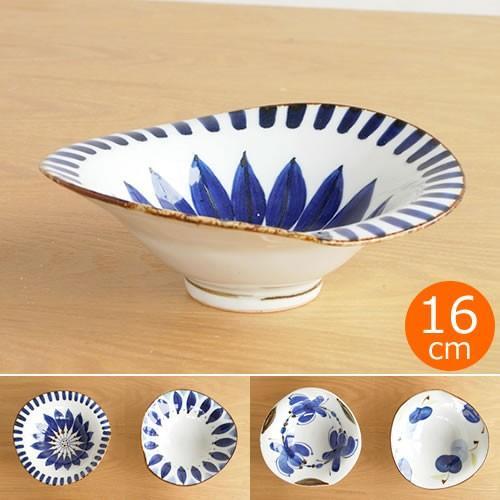 波佐見焼 HASAMI 翔芳窯 藍の器 変形中鉢 16cm 鉢 取鉢 取皿 深皿 ボウル 陶磁器 職人 手書き 軽量 軽い 薄い 日本製|favoritestyle