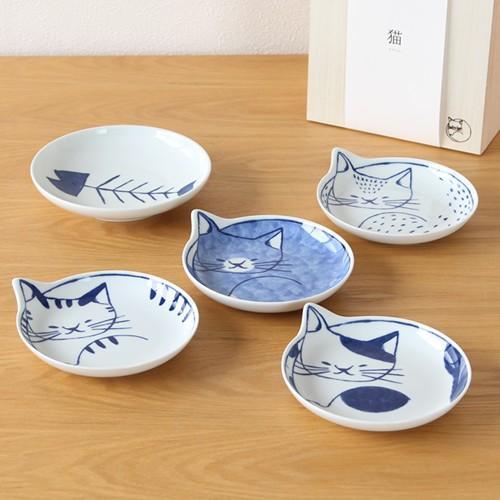 波佐見焼 neco皿 5枚セット 木箱入り とり皿 取り皿 ケーキ皿 猫皿 ねこ皿 磁器 猫 皿 石丸陶芸 日本製|favoritestyle