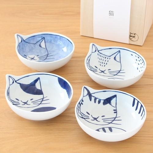 波佐見焼 neco鉢 4枚セット 木箱入り 小鉢 取り鉢 取り皿 ボウル 猫鉢 ねこ鉢 猫 磁器 石丸陶芸 日本製|favoritestyle