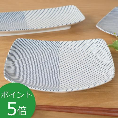 白山陶器 重ね縞 波佐見焼 角皿 反角多用皿 HAKUSAN 21×21cm|favoritestyle