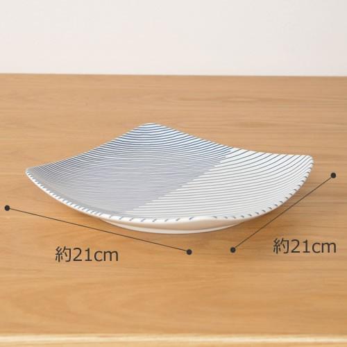 白山陶器 重ね縞 波佐見焼 角皿 反角多用皿 HAKUSAN 21×21cm|favoritestyle|02