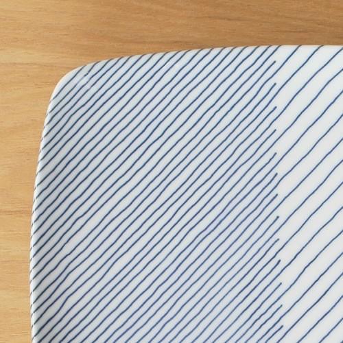 白山陶器 重ね縞 波佐見焼 角皿 反角多用皿 HAKUSAN 21×21cm|favoritestyle|03