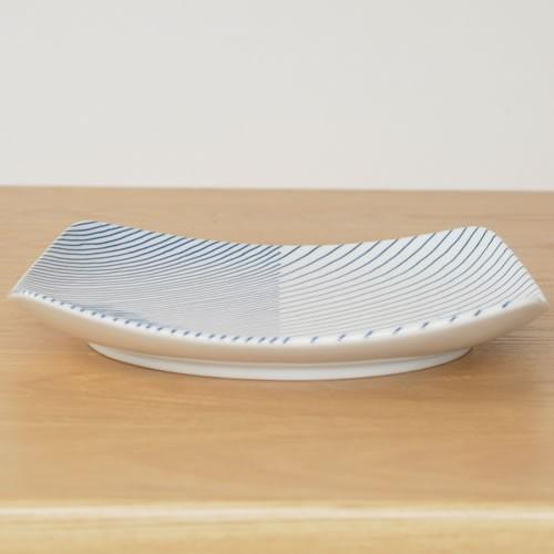 白山陶器 重ね縞 波佐見焼 角皿 反角多用皿 HAKUSAN 21×21cm|favoritestyle|04