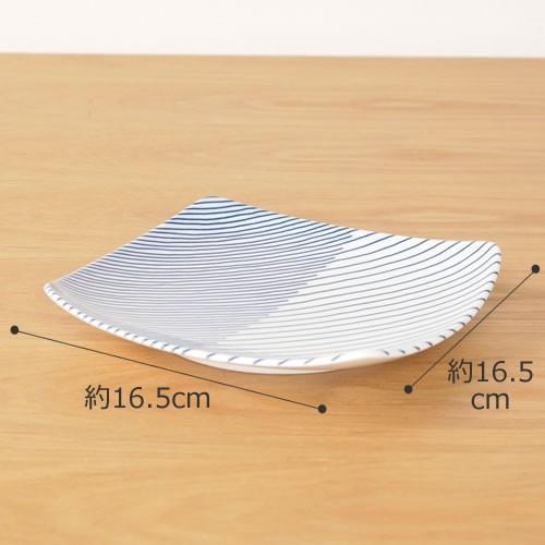 白山陶器 重ね縞 反角中皿 波佐見焼 16.5×16.5cm 角皿 HAKUSAN HKSN-KNJ-02|favoritestyle|02