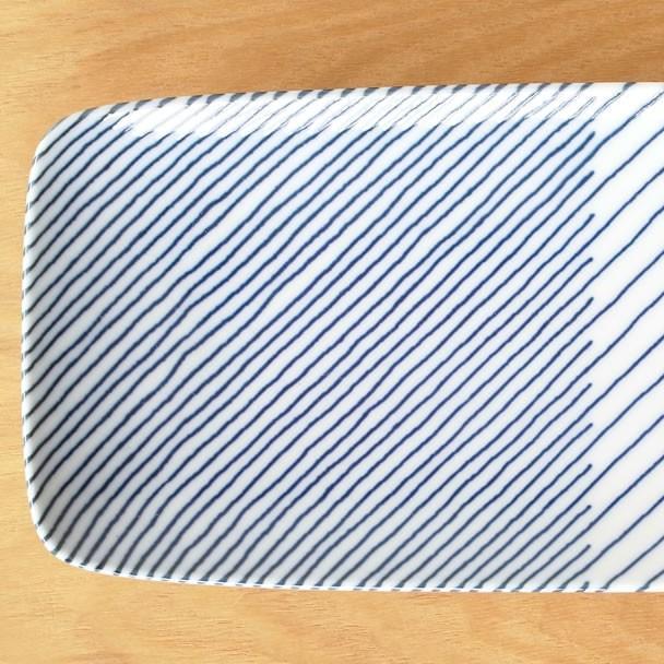 白山陶器 重ね縞 長焼皿 波佐見焼 角皿 皿 和食器 HAKUSAN HKSN-KNJ-03|favoritestyle|03