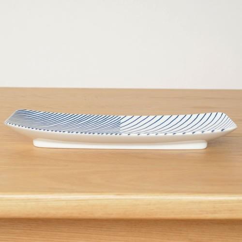 白山陶器 重ね縞 長焼皿 波佐見焼 角皿 皿 和食器 HAKUSAN HKSN-KNJ-03|favoritestyle|04