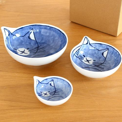 波佐見焼 Family neco鉢 コテツ 3枚 セット 箱入り 猫皿 ねこ皿 猫鉢 猫 深皿 ボウル どんぶり とんすい 石丸陶芸 日本製|favoritestyle