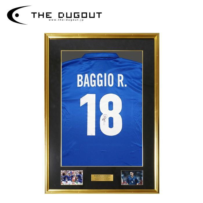 (予約:3週間待ち)ロベルト・バッジョ 直筆サイン入り イタリア代表 1998 ホーム ユニフォーム特製フレーム入り (THE DUGOUT)(TDYC18191FR)