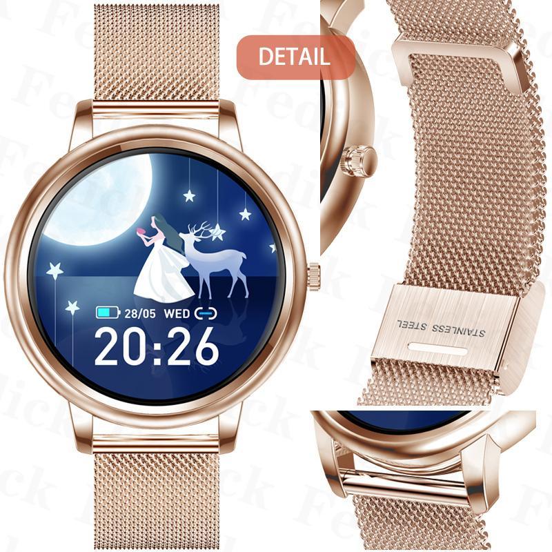 腕時計 レディース 店長イチオシ! ベルト スマートウォッチ 2021 日本語 説明書 血圧 正確 iphone Android 血中酸素濃度計 睡眠検測 歩数計 即納 1年保証|fedick|21