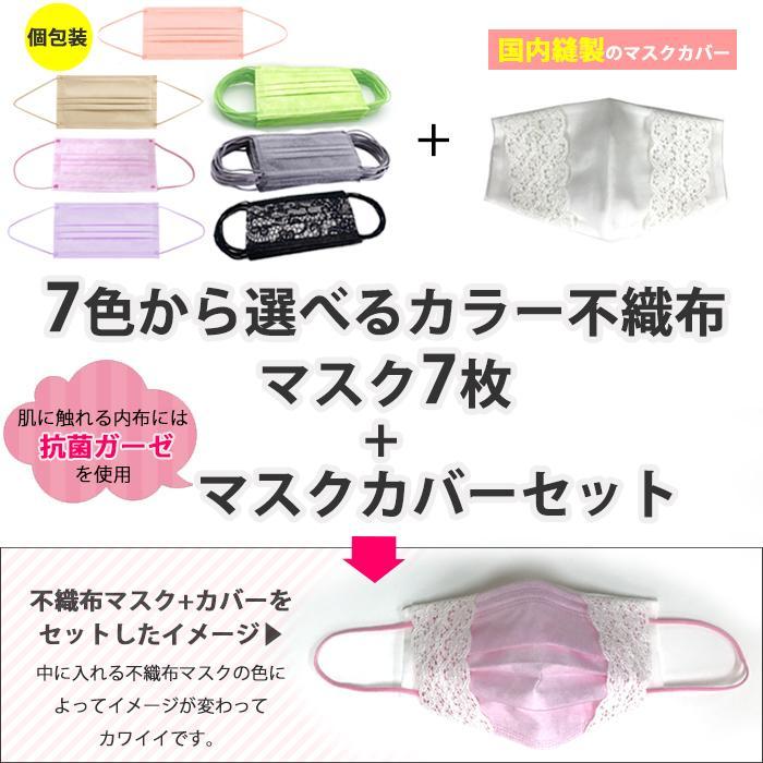 【母の日カード対象商品】送料無料 個包装 カラーが選べる不織布マスク7枚+マスクカバーセット 花粉対策 ウイルス対策 不織布マスク  |feel-one
