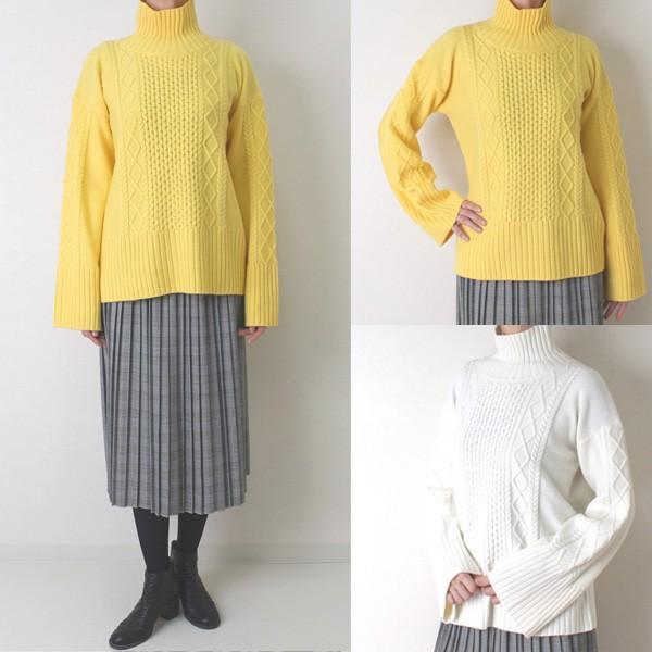 Apaiser lame(アぺゼラム)アラン編み柄ベルスリーブタートルセーター|femme