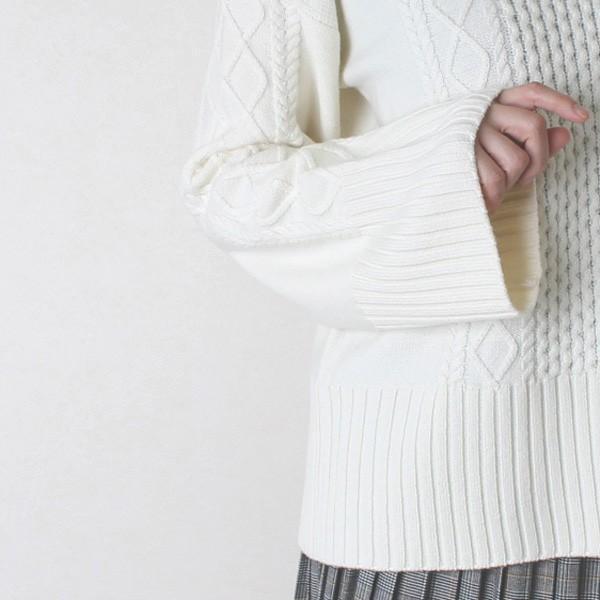 Apaiser lame(アぺゼラム)アラン編み柄ベルスリーブタートルセーター|femme|11
