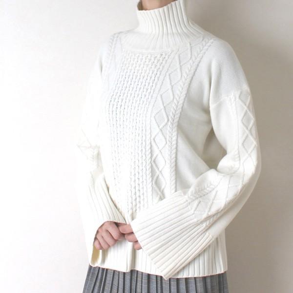 Apaiser lame(アぺゼラム)アラン編み柄ベルスリーブタートルセーター|femme|12