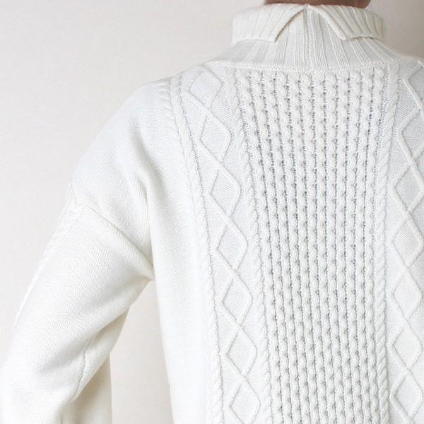 Apaiser lame(アぺゼラム)アラン編み柄ベルスリーブタートルセーター|femme|14