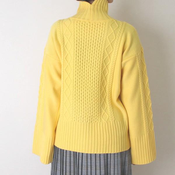 Apaiser lame(アぺゼラム)アラン編み柄ベルスリーブタートルセーター|femme|19
