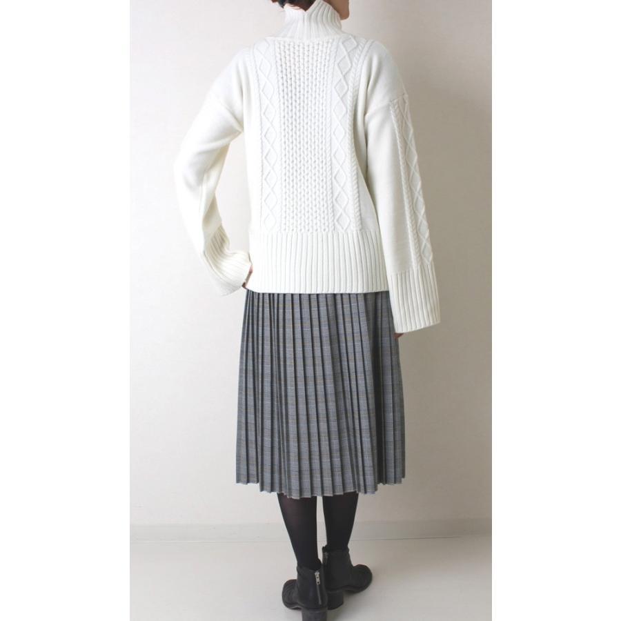 Apaiser lame(アぺゼラム)アラン編み柄ベルスリーブタートルセーター|femme|08