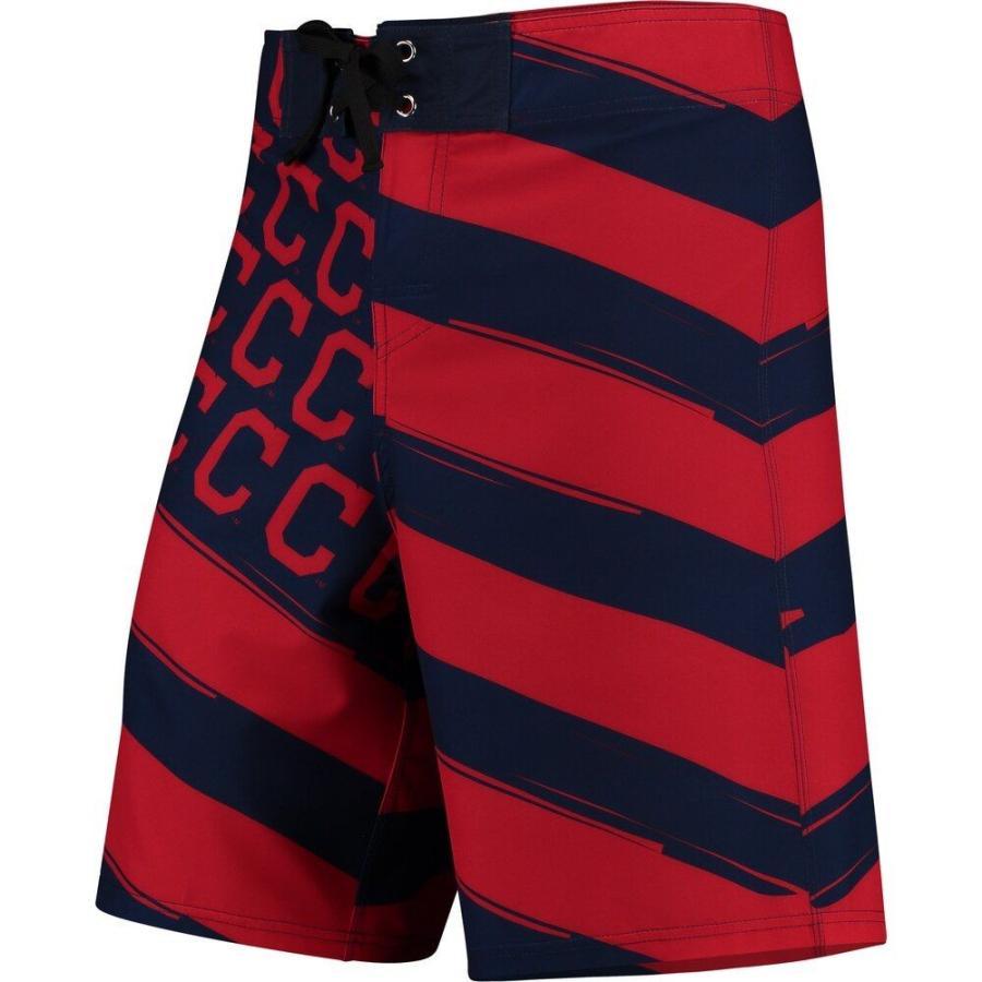 フォーエバー Forever Collectibles メンズ 海パン 水着・ビーチウェア Cleveland Indians Diagonal Flag Boardshorts - Navy/赤