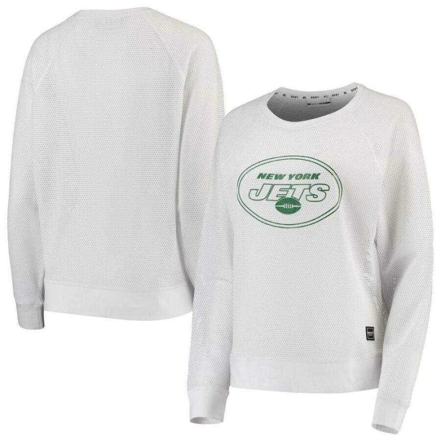 【使い勝手の良い】 ダナ キャラン ニューヨーク DKNY Sport レディース 長袖Tシャツ トップス New York Jets Lauren Mesh Long Sleeve T-Shirt - White White, Felice 幸福屋 3db3a9bd
