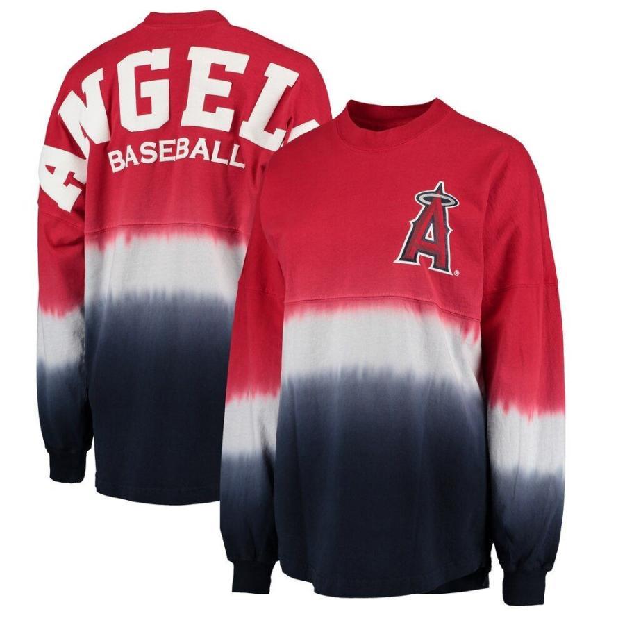 【受注生産品】 ファナティクス ブランデッド Fanatics Branded レディース 長袖Tシャツ Los Angeles Angels Oversized Long Sleeve Ombre Spirit Jersey T-Shirt - Red, its a beautiful music b80cbf5e