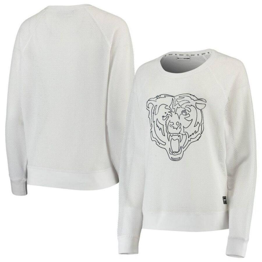 【保障できる】 ダナ キャラン ニューヨーク DKNY Sport レディース 長袖Tシャツ トップス Chicago Bears Lauren Mesh Long Sleeve T-Shirt - White White, ペットの専門店コジマ 86e0b04b