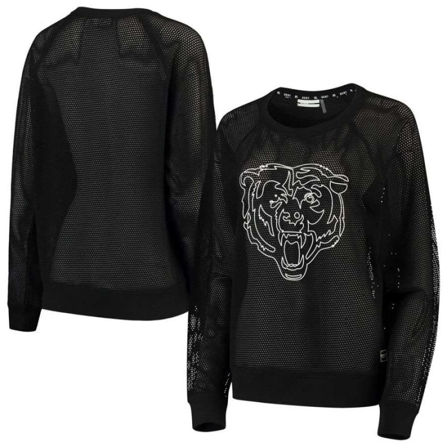 【売れ筋】 ダナ キャラン ニューヨーク DKNY Sport レディース 長袖Tシャツ トップス Chicago Bears Lauren Mesh Long Sleeve T-Shirt - Black Black, アンティークそっくり e81260b8