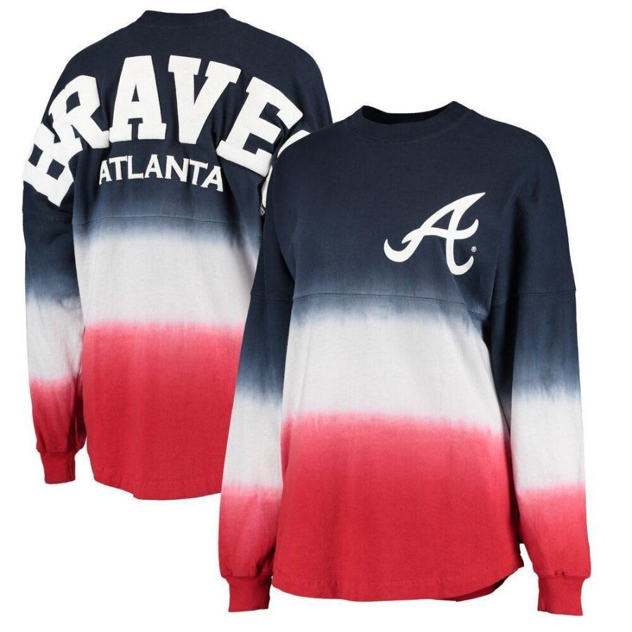【数量は多】 ファナティクス ブランデッド Fanatics Branded レディース 長袖Tシャツ Atlanta Braves Oversized Long Sleeve Ombre Spirit Jersey T-Shirt - Navy, サークルストア b8030d26