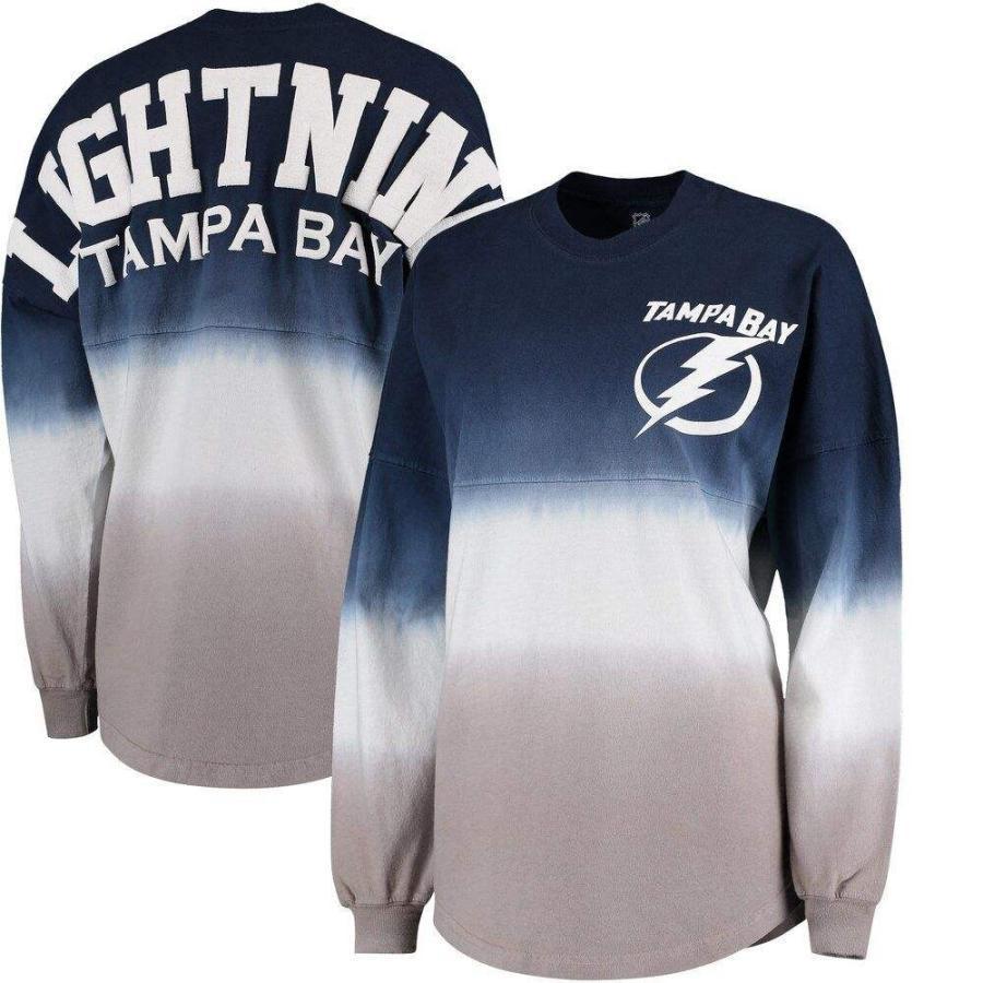 上品なスタイル ファナティクス ブランデッド Fanatics Branded レディース 長袖Tシャツ Tampa Bay Lightning Ombre Spirit Jersey Long Sleeve Oversized T-Shirt - Blue/Gray, 日本茶専門店 てらさわ茶舗 b7305406