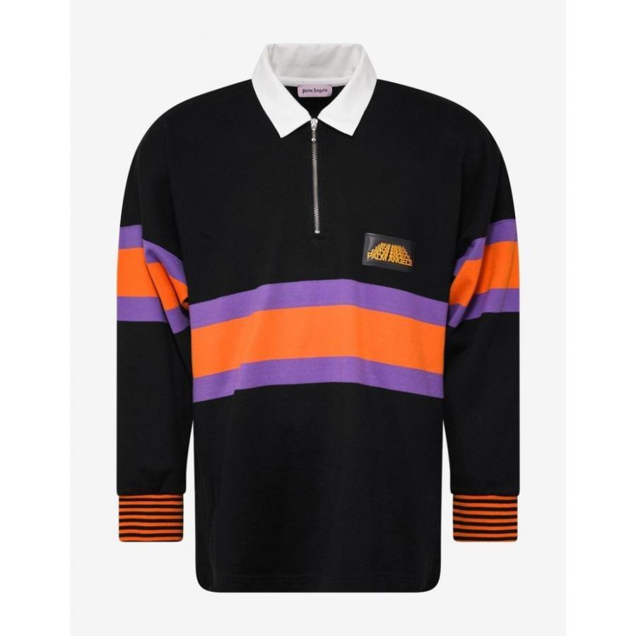 パーム エンジェルス Palm Angels メンズ トップス ハイキング・登山 Black Striped Hiking Polo T-Shirt Black