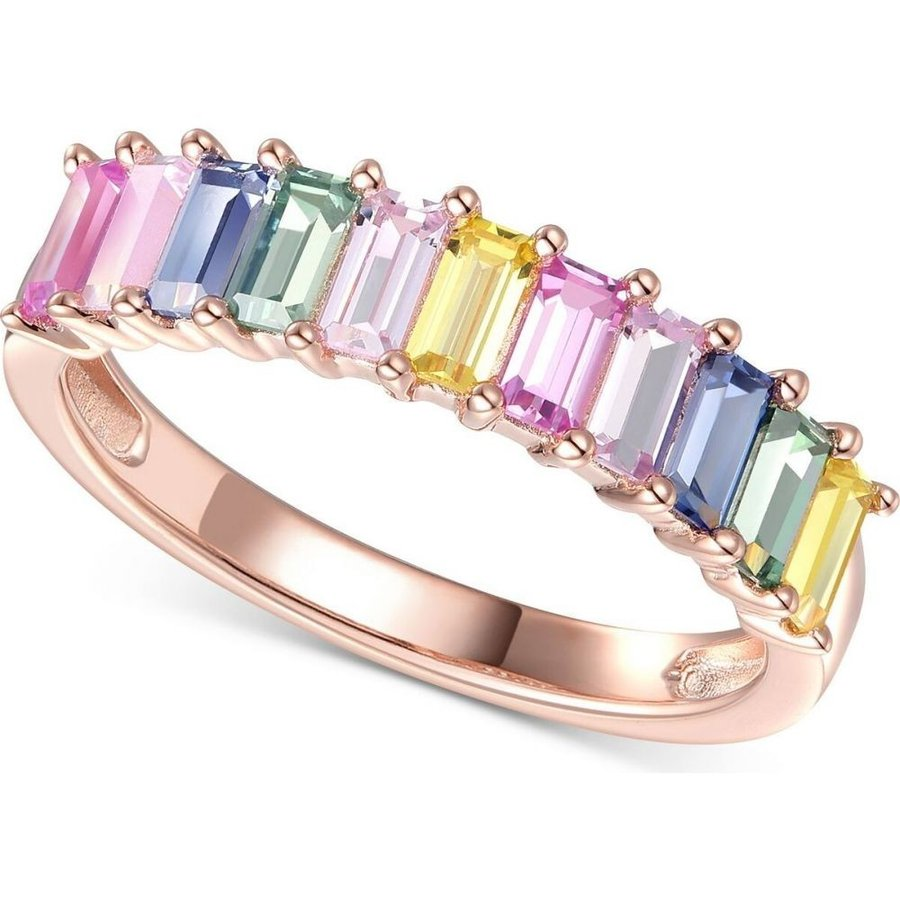 『5年保証』 メイシーズ 指輪・リング Macy's ユニセックス 指輪・リング Gold-Plated Lab-Created Multi-Sapphire Baguette Multi Ring (1-5/8 ct. t.w.) in 14k Rose Gold-Plated Sterling Silver Multi, EVRICA(エヴリカ):842876ed --- airmodconsu.dominiotemporario.com