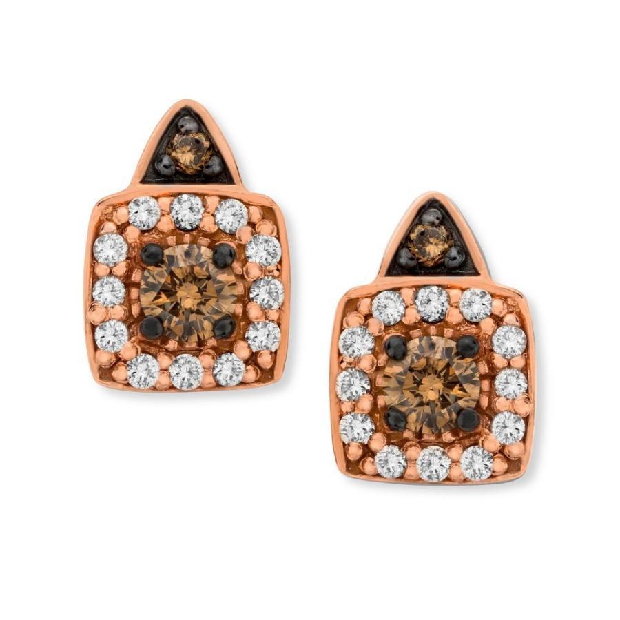 【年中無休】 ル ヴァン Le Gold Vian Stud レディース イヤリング・ピアス 14k Chocolate by Petite Chocolate and White Diamond Stud Earrings in 14k Rose Gold (1/3 ct. t.w.), BLUME:047f45c0 --- airmodconsu.dominiotemporario.com