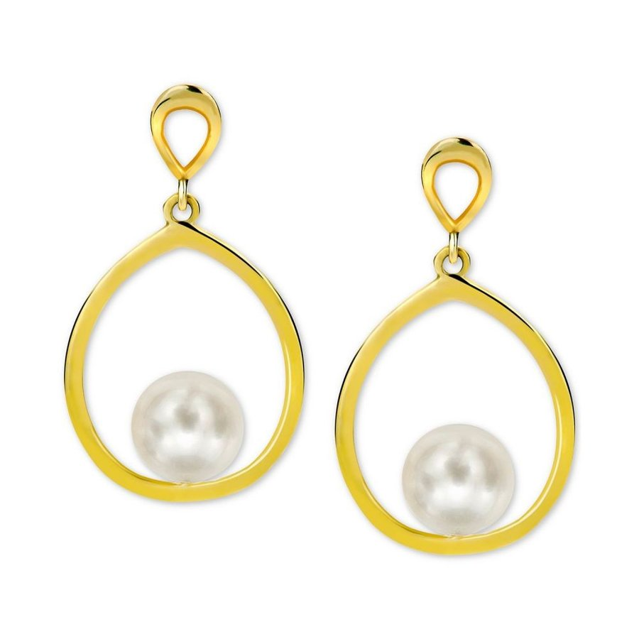 14k Yellow Gold 7mm Flat Ball Stud Earring with Round Freshwater Cultured Pearl