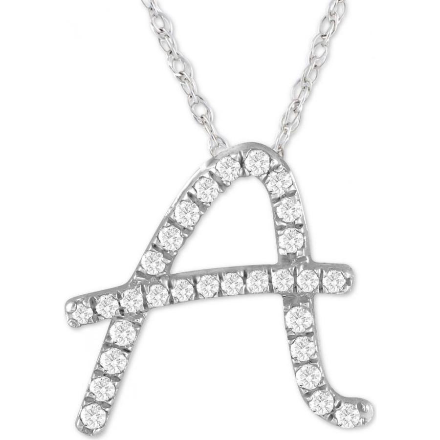 【公式】 メイシーズ Macy's メンズ ネックレス ジュエリー・アクセサリー Diamond Initial Pendant Necklace (1/10 ct. t.w.) in Sterling Silver16