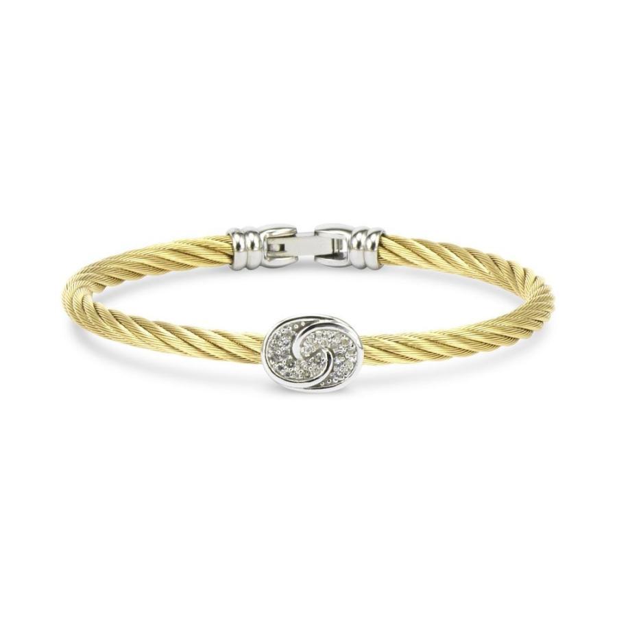 【2018秋冬新作】 シャリオール CHARRIOL メンズ ブレスレット White Topaz Knot Bangle Bracelet (1/4 ct. t.w.) in Sterling Silver & Stainless Steel with Gold PVD, 上市町 c9516959