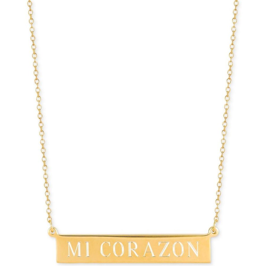 驚きの値段で サラクロエ Sarah Chloe メンズ Gold-Plated ネックレス Mi 14k Corazon Pendant Adjustable Engraved Bar Pendant Necklace in 14k Gold-Plated Sterling Silver Yellow Gold, 【激安大特価!】 :45802e56 --- airmodconsu.dominiotemporario.com