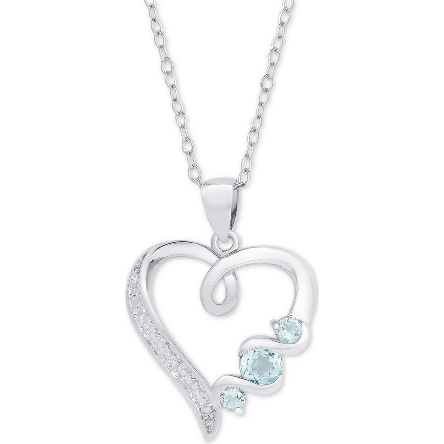超格安価格 メイシーズ メイシーズ Macy's メンズ Silver/blue ネックレス (3/8 ハート Blue Topaz Heart 18