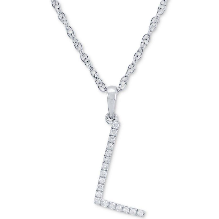 最大の割引 メイシーズ Macy's ユニセックス ネックレス Diamond (1/10 ct. t.w.) Initial Pendant Necklace in 10k White Gold, 16