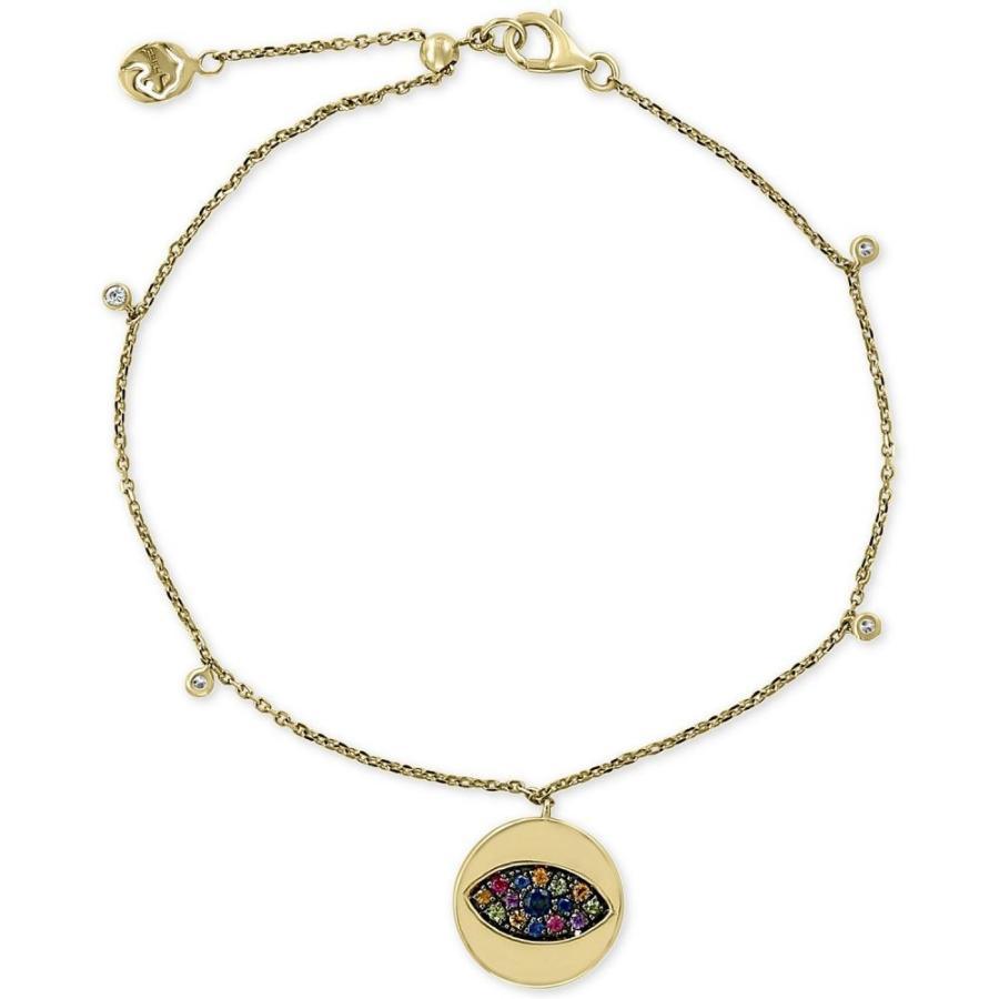 【人気商品】 エフィー EFFY Collection メンズ ブレスレット チャーム Multi-Sapphire (1/4 ct. t.w.) & Diamond (1/20 ct. t.w.) Evil-Eye Charm Bracelet in 14k Gold, シャリキムラ bc2d9f20