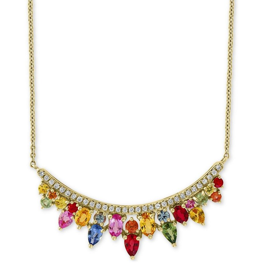 100%安い エフィー EFFY Collection ユニセックス ネックレス EFFY Multi Sapphire (3-1/3 ct.t.w.) & Diamond (1/5 ct. t.w.) Statement Necklace in 14k Gold, 癒足(いやし) 9f9d025c