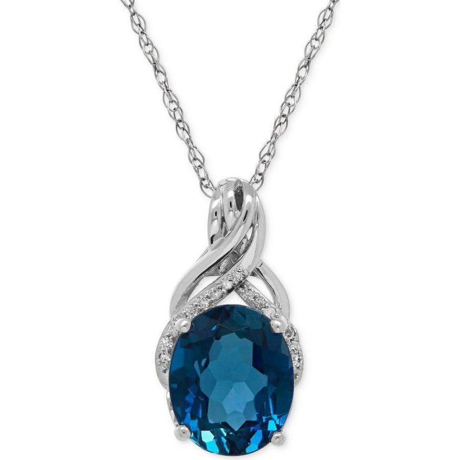 超爆安 メイシーズ Macy's レディース Necklace ネックレス Diamond London Blue Topaz and (4-3/4 ct. t.w.) and Diamond Accent Twist Pendant Necklace in Sterling Silver, みづの屋:45b0ee8a --- airmodconsu.dominiotemporario.com