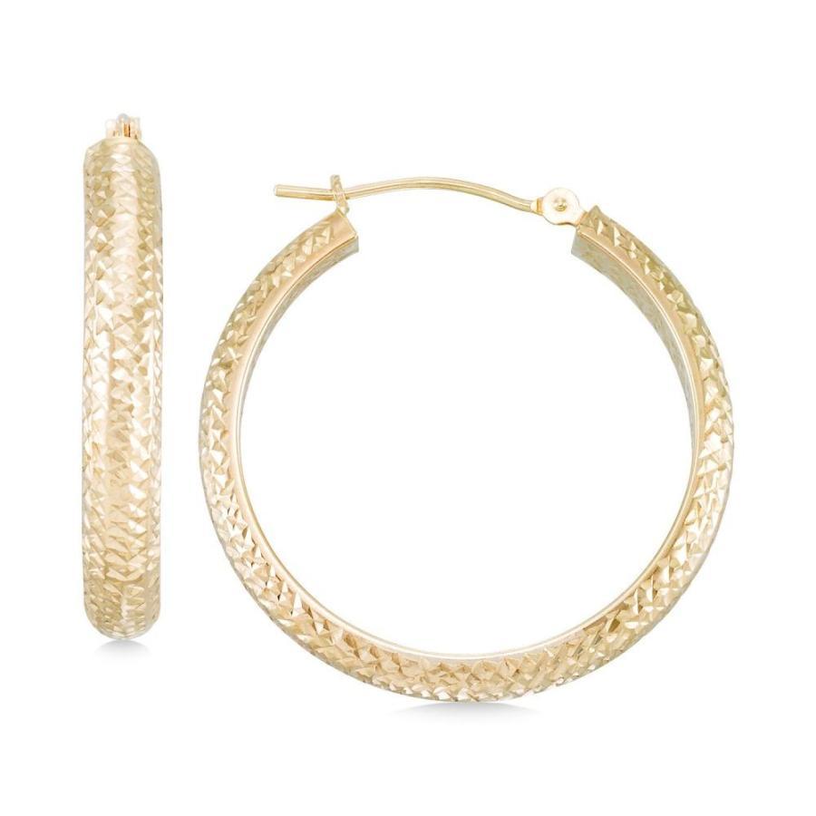 Hoop Earrings 10Kt Gold Textured Hoop Earrings
