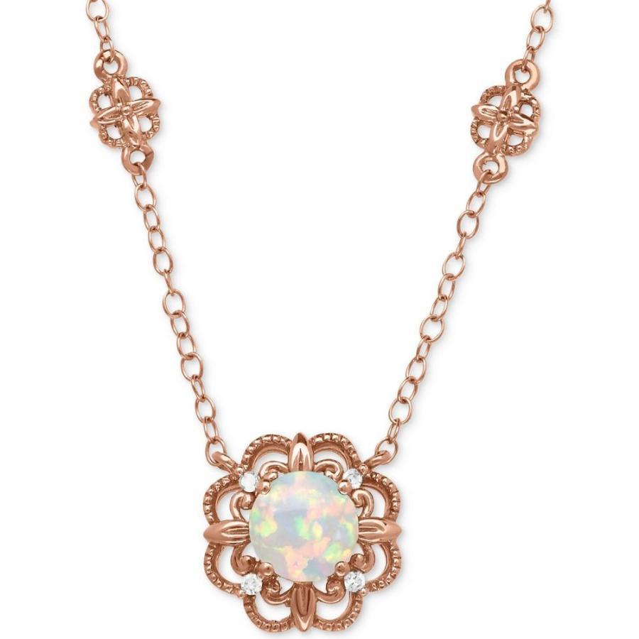 限定版 メイシーズ Macy's ユニセックス ネックレス Opal (1/2 ct. t.w.) with Diamond Accent Filigree Floral 17