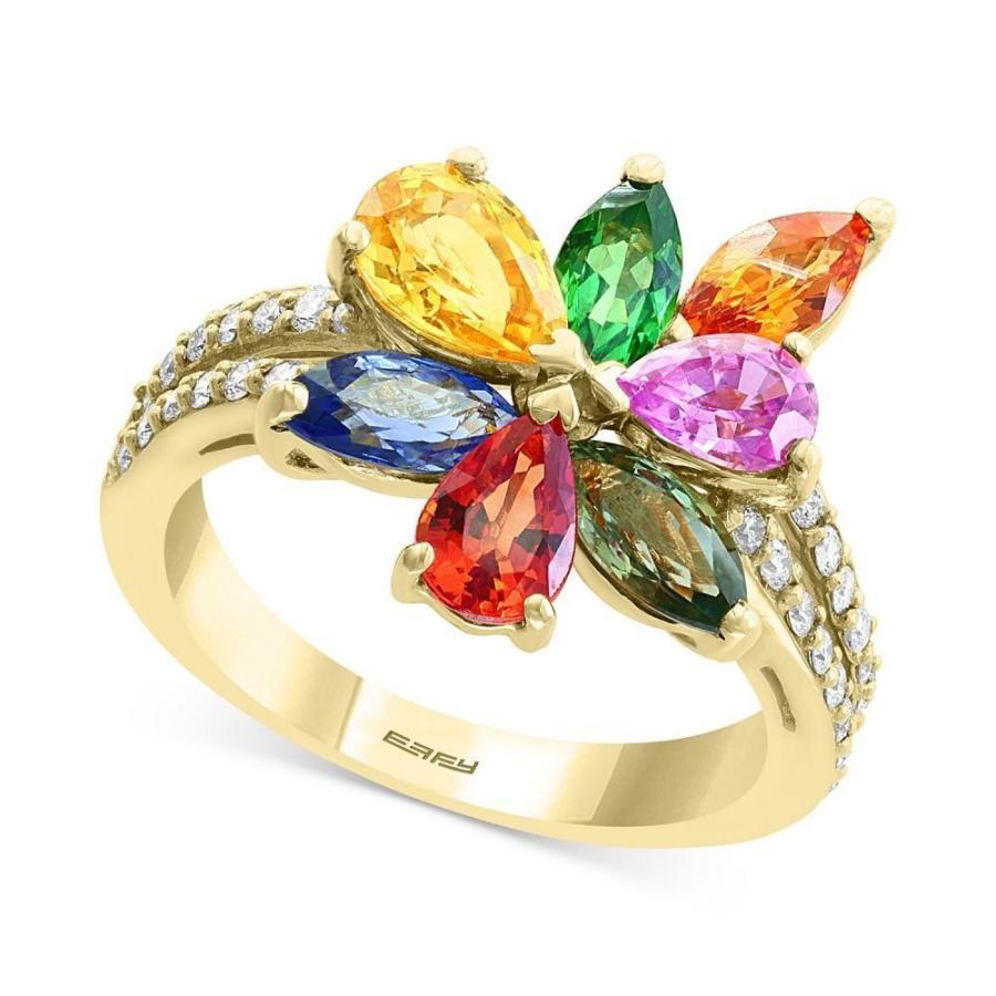 【超お買い得!】 エフィー EFFY Collection Collection ユニセックス Gold 指輪・リング ct. EFFY Multi-Gemstone (3-3/4 ct t.w.) & Diamond (1/4 ct. t.w.) Flower Ring in 14k Gold, 遠賀郡:684880a6 --- airmodconsu.dominiotemporario.com